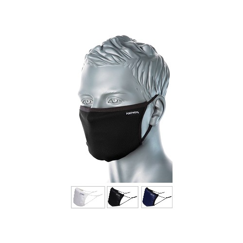 Triple Layer Anti-Microbial Fabric Face Mask Black