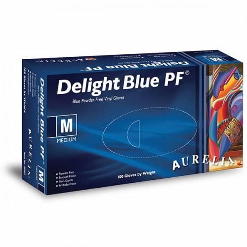 Blue Vinyl P/F Gloves Pk 100 Medium