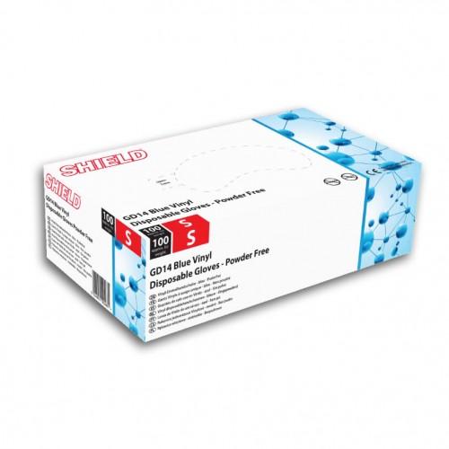 Blue Vinyl Powder Free Gloves Pk 100 Lge