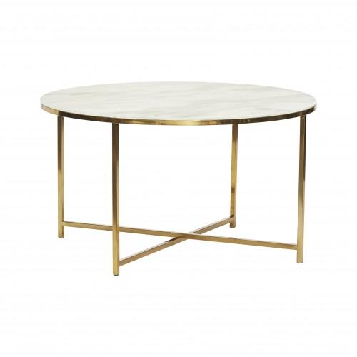 Hubsch Danish Design Table, metal/glass, white/brass