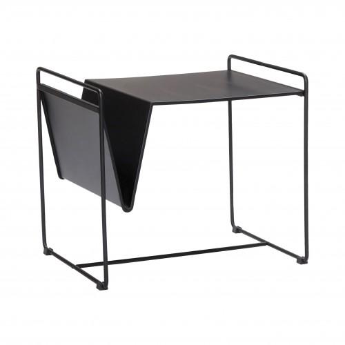 Hubsch Danish Design Table w/magazine holder, black, metal