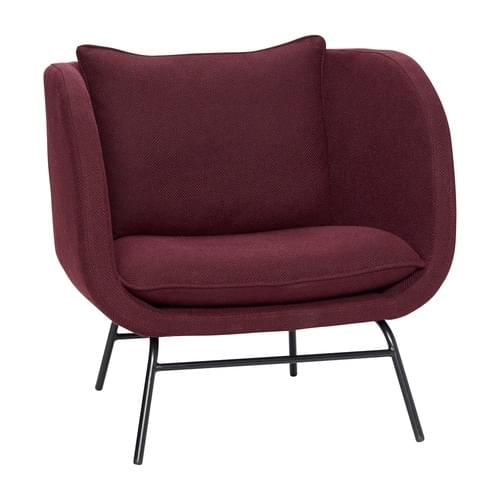 Hubsch Danish Design Lounge chair w/metal legs, bordeaux/black