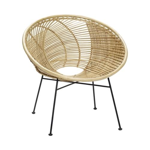 Hubsch Danish Design Chair w/metal legs, rattan, nature/black