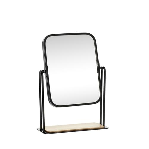 Hubsch Danish Design Table mirror w/foot, square, wood/metal/glass, black