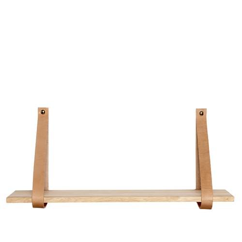 Hubsch Danish Design Shelf w/leather strap, wood, nature, large