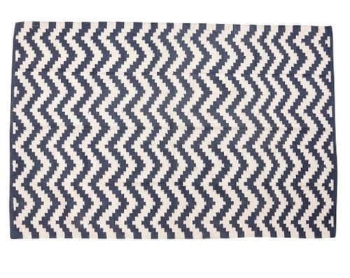 Hubsch Danish Design Rug, woven, cotton, blue/nature