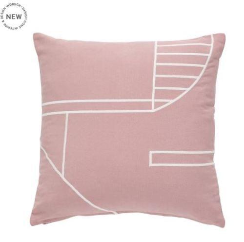 Hubsch Danish Design Cushion w/filler, cotton, pink/white