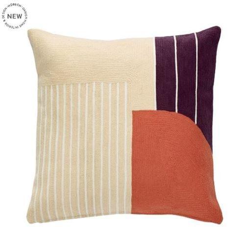 Hubsch Danish Design Cushion w/filler, cotton, bordeaux/white
