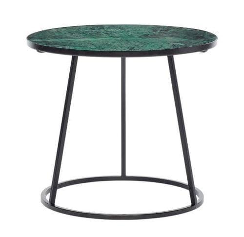 Hubsch Danish Design Table w/black frame, metal/marble, black/green