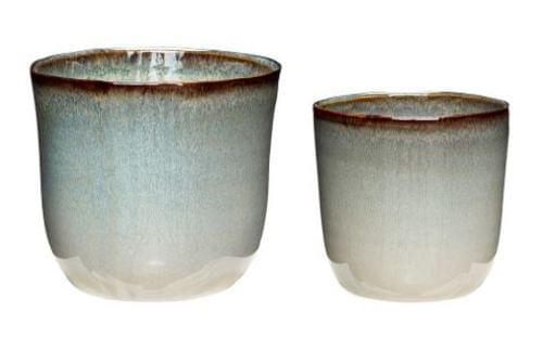 Hubsch Danish Design Pot, ceramics, beige/white, s/2