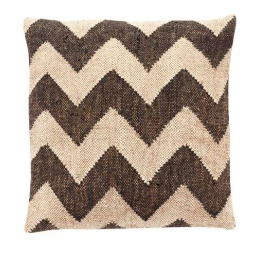 Hubsch Danish Design Cushion w/kelim pattern, wool/jute, black/beige