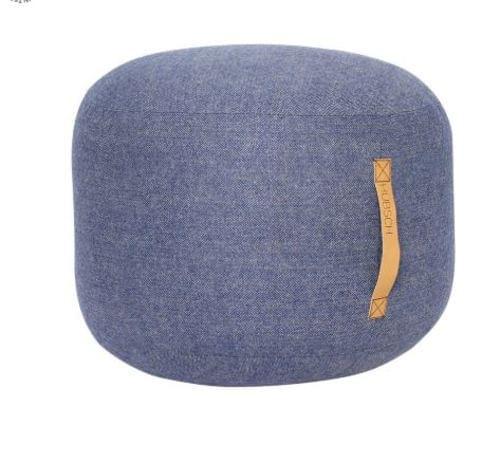 Hubsch Danish Design Pouf w/leather strap, herringbone, wool, blue
