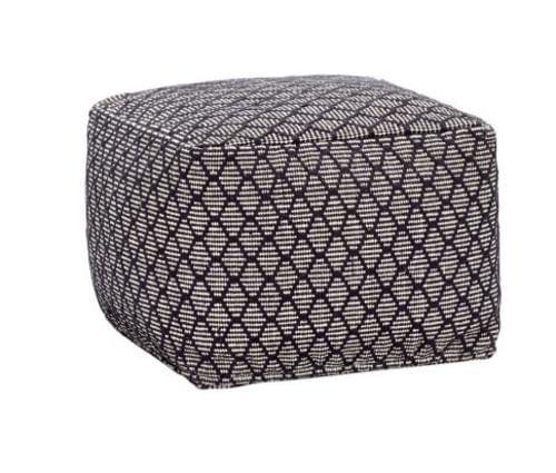 Hubsch Danish Design Pouf w/pattern, square, cotton, black/white