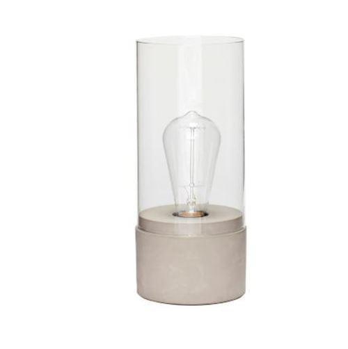 Hubsch Danish Design Table lamp, concrete/glass