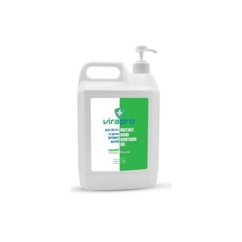 ViraPro Hand Sanitiser Gel clear 5 Litre 70% Alcohol - Now with Pump for Bulkfill