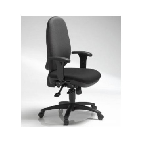 IRISH MADE ERGONOMIC TASK CHAIR. High back task chair on a 5 star nylon base incl. castors, fully ergonomic functionality incl. seat height adjustment, synchro mechanism, locking back, inflatable lumbar cushion, adjustable armrests