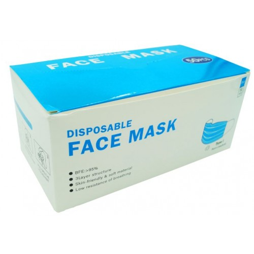 Disposable Face Masks, Blue 3 Ply,  CE Certified Box of 50