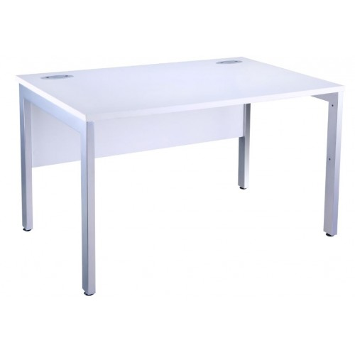 White 1200mm Home Office Desk. White finish top. White metal frame with support modesty panel