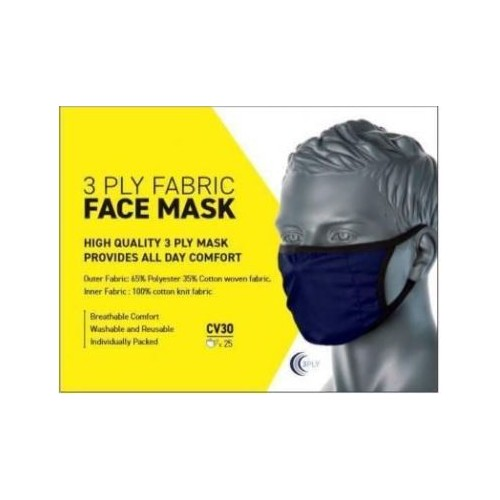 3 Ply Fabric Face Mask Navy Pk 25