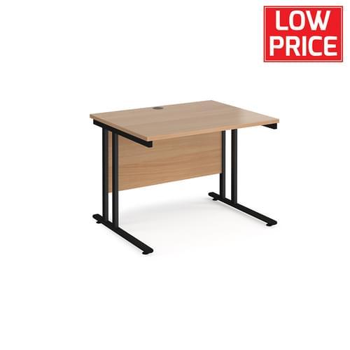 Straight Desk 1000 x 800mm Black Frame Beech
