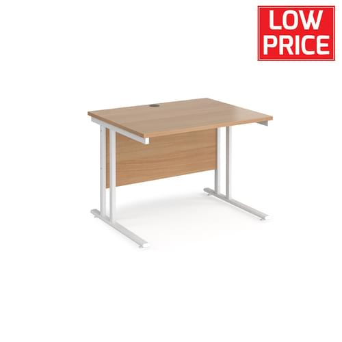 Straight Desk 1000 x 800mm White Frame Beech