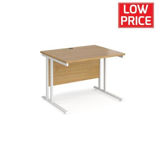 Straight Desk 1000 x 800mm White Frame Oak