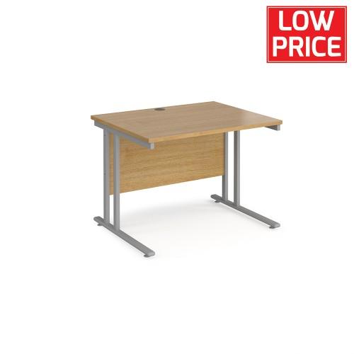 Straight Desk 1000 x 800mm Silver Frame Oak