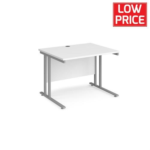 Straight Desk 1000 x 800mm Silver Frame White