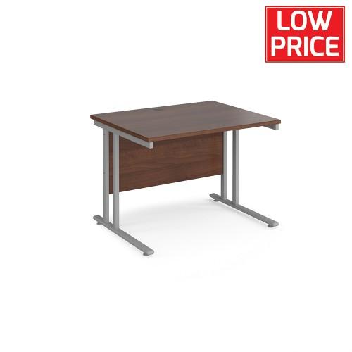 Straight Desk 1000 x 800mm Silver Frame Walnut