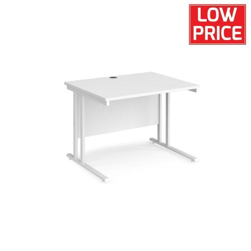 Straight Desk 1000 x 800mm Black Frame White