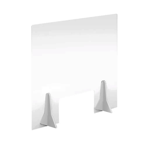 Free Standing Acrylic Screen 600 x 500 x 4mm Clear with Cut Out