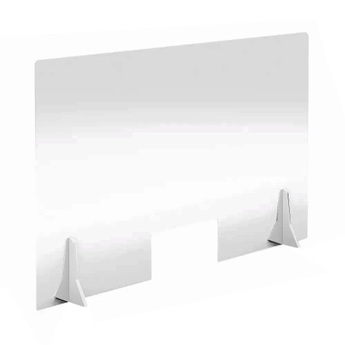 Free Standing Acrylic Screen 1000 x 600 x 4mm Clear with Cut Out