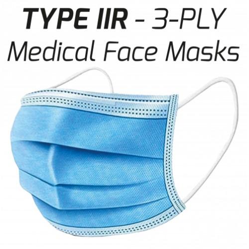 Type IIR Medical 3-Ply Face Masks Pk50