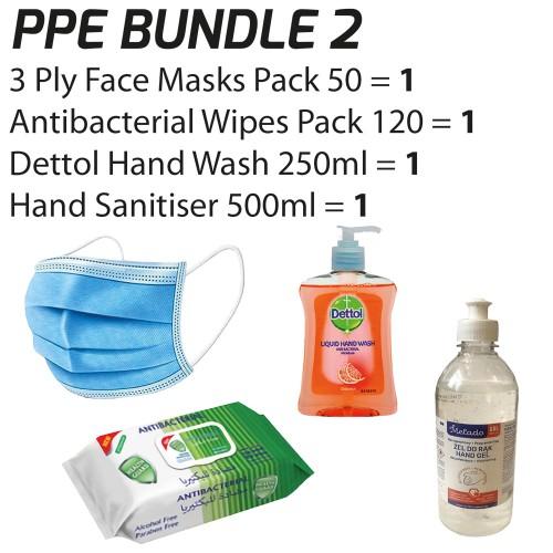 PPE Bundle 2 (3-Ply Face Masks 1x50/Antibacterial Wipes/Dettol Hand Wash 250ml + FREE 500ml Hand Sanitiser Gel)