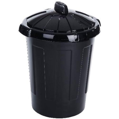 Refuse Bin with Lid 80 Litre Black