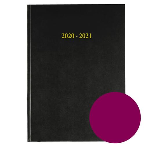 2020-2021 12 Months Academic Diary A4 Day To Page Burgundy