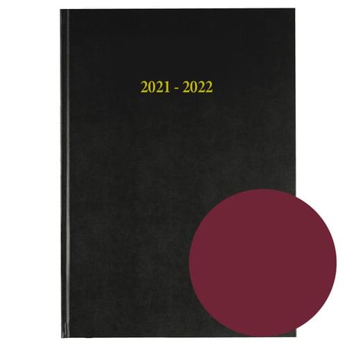 2021-2022 12 Months Academic Diary A4 Day To Page Burgundy