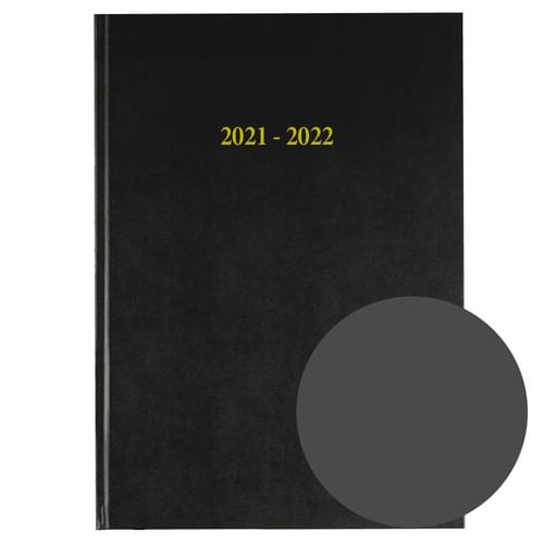 2021-2022 12 Months Academic Diary A4 Day To Page Charcoal
