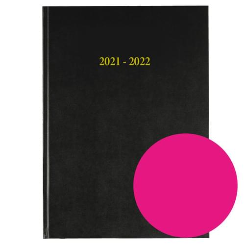 2021-2022 12 Months Academic Diary A4 Day To Page Dark Pink