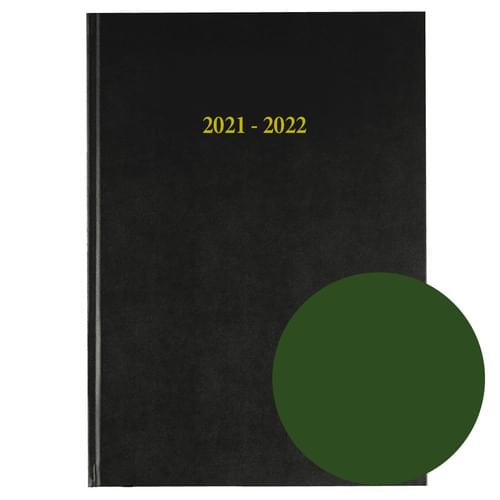 2021-2022 12 Months Academic Diary A4 Day To Page Green