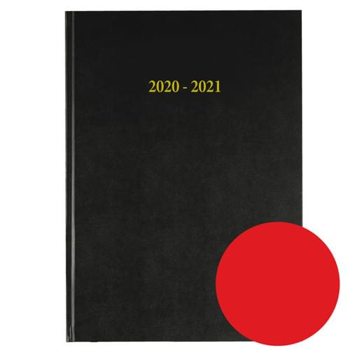 2020-2021 12 Months Academic Diary A4 Day To Page Red