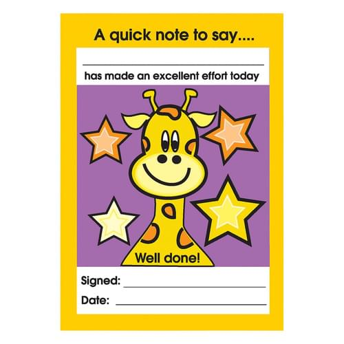 Excellent Effort Reward Note Pad