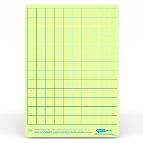 Show-me A4 Gridded Green Tinted Drywipe Lapboards Pk5