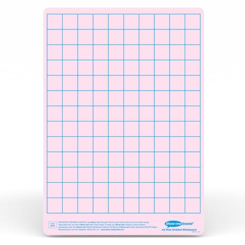 Show-me A4 Gridded Pink Tinted Drywipe Lapboards Pk5