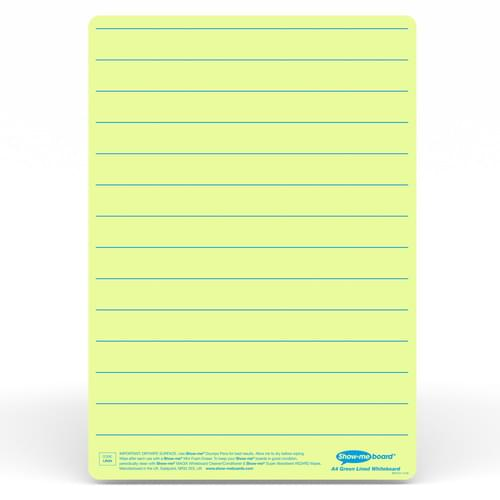 Show-me A4 Lined Green Tinted Drywipe Lapboards Pk5