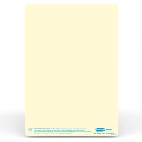 Show-me A4 Plain Cream Tinted Drywipe Lapboards Pk5