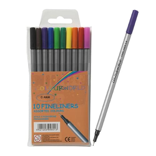 Colourworld Fineliners Assorted Colours Pk10