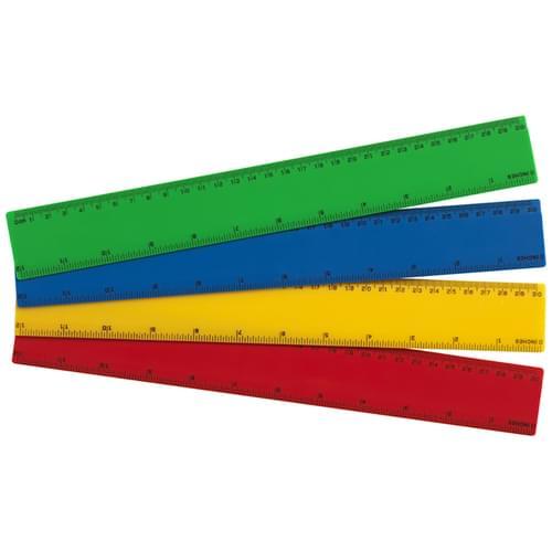 Super Saver Coloured Rulers 30cm/12in Pk100