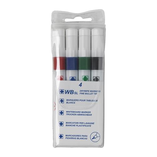 Super Saver Drywipe Fine Point Markers Assorted Pk4