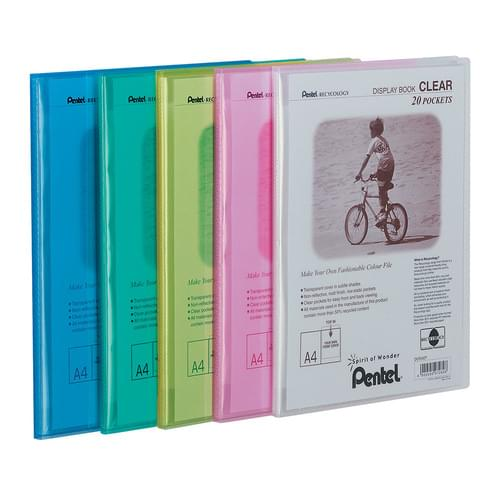 Pentel Recycology Clear Display Book A4 20 Pockets Pk5 Assorted